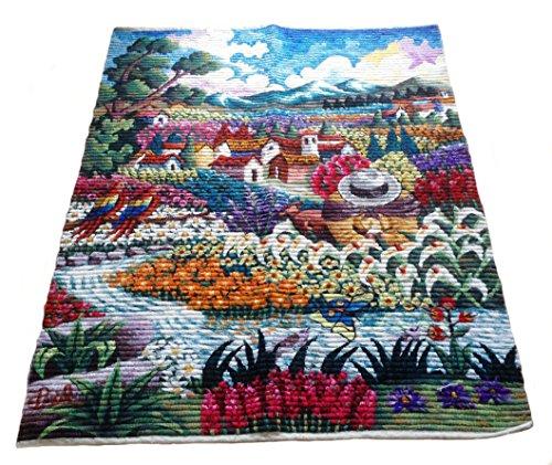 Peruvian Wall Rug - Alpakaandmore Peruvian Hand-woven Rug, Tapestry Merino Wool Wall Rug 51.18x39.37