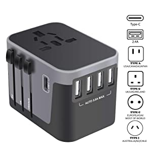 Universal Travel Adapter, USB-C International Power Adapter, Worldwide Plug Adaptor with 4 USB Ports Type-C 3.0A Fast Wall Charger, All in One AC Converter for USA UK AUS Europe Phone 150 Countries