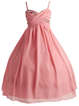 4c99a237be4d Image Unavailable. Image not available for. Color: Little Girls Crystal  Ruched Chiffon Gown Pageant Wedding Party Flower Girl Dress Coral 4 (J35K56