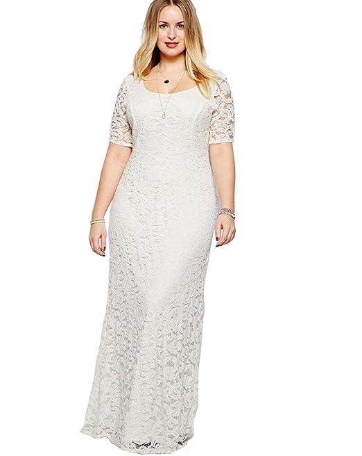 esenfa Mujer Maxi vestido largo de encaje elegante para fiesta boda vestido de noche Plus Size