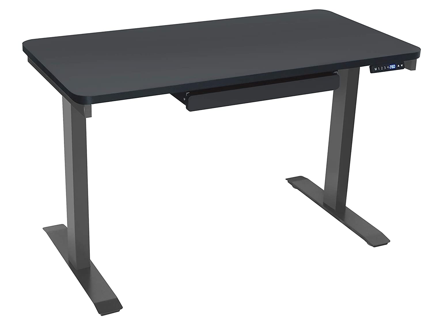 "Motionwise SDG48B Electric Standing Desk, 24""x48 Home Office Series, 28""-48"" with Quickly Program up to 4 pre-Set Height adjustments and USB Charge Port, Black Top with light Grey frame"