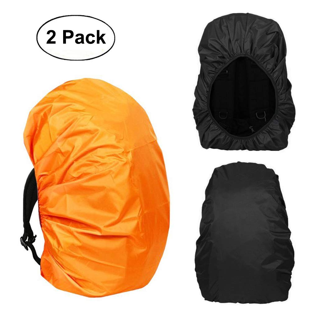 PUPNAN Waterproof Backpack Rain Cover 30L-40L, Elastic Adjustable Dustproof Rainproof Protector Pack Covers for Hiking/Camping/Cycling/Traveling, 2-Pack (Black+Orange)