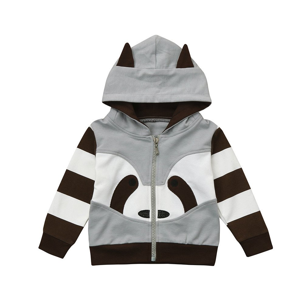 Konfa Girls Boys Cartoon Racoon Hooded Jacket Coat,Suitable for 1-4 Years Old,Winter Warm Cloak Tops Konfa_Coat