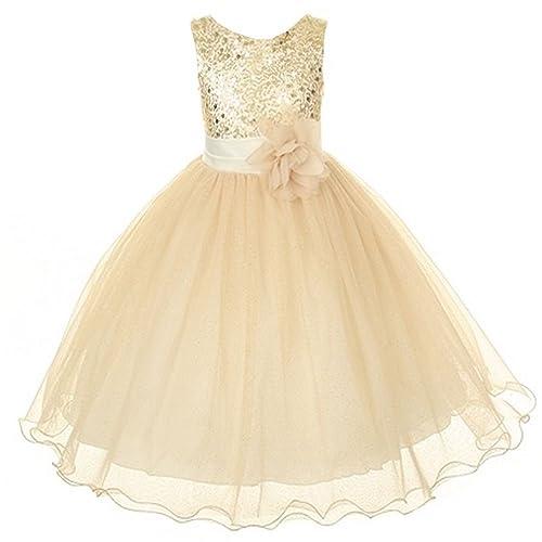 2023beedded Kids Dream Gold Sequin Double Mesh Flower Girl Dress Girls 2T-14 ...