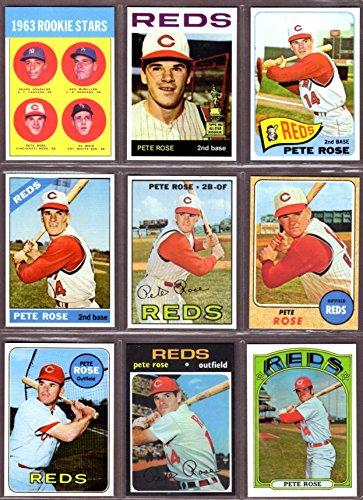Pete Rose (9) Card Baseball Reprint Lot #1 Includes 1963 Rookie, 1964, 1965, 1966, 1967, 1968, 1969,1971 and 1972 (Cincinnati) (Philadelphia)