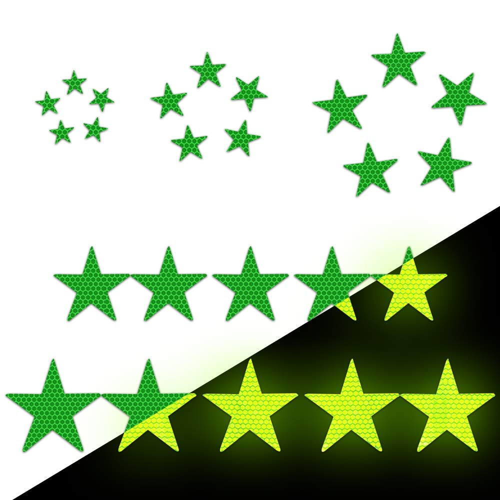 Pack of 25 Green Longzhimei Reflective Stickers Safety Warning Tape Reflective Tape Self-Adhesive for Helmets Bicycles Strollers Wheelchairs and More