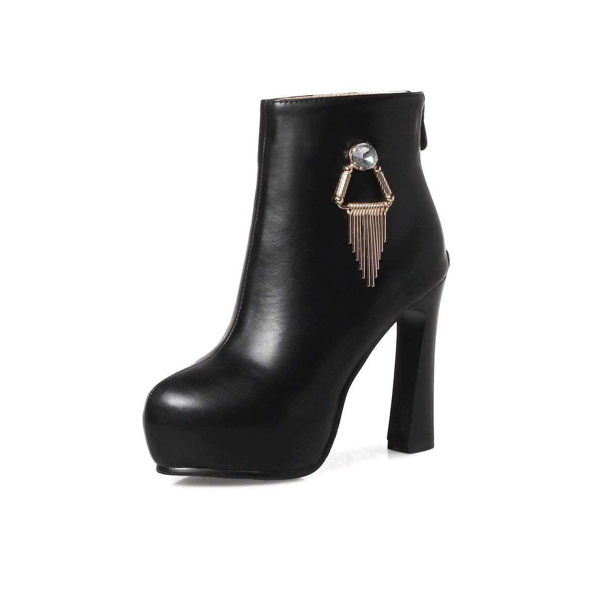 - DYF Chaussures Botte Courte Bold Fond épais en Métal Strass Talon Haut,noir,36