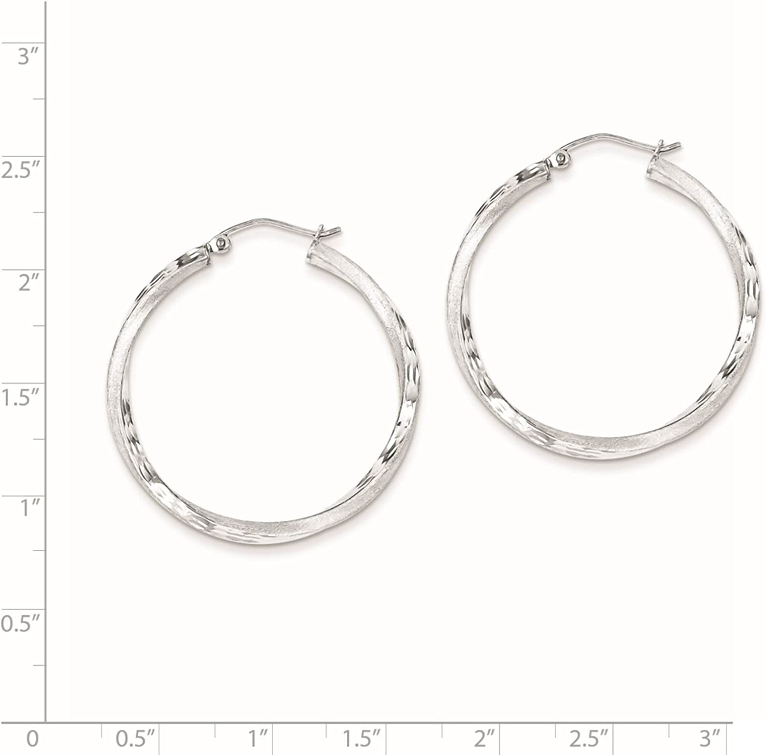 925 Silver Rhodium-plated Polished /& Satin Finish Twisted Hoop Earrings 2.5mm x 37mm