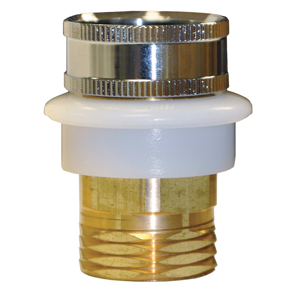 "Danco 10518 Quick Connect Adapter, Male X 3/4 in Female Garden Hose, Metal, Polished, 15/16"" x 27 Thread / 55/64"" x 27 Thread Brass"