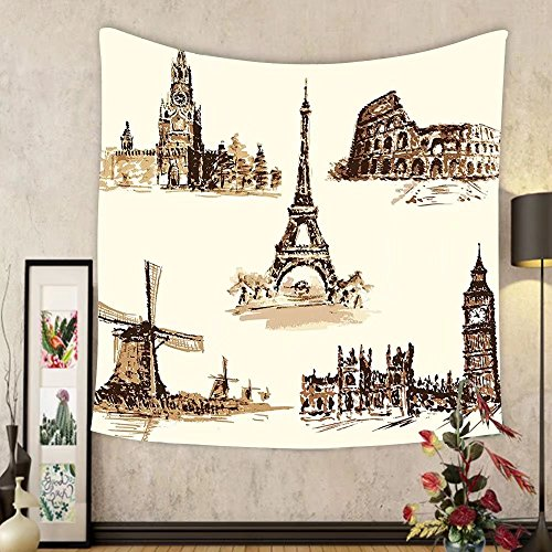 Gzhihine Custom tapestry Ancient Tapestry European Landmark Traveller Tourist Cities Italy France Spain Sketchy Image for Bedroom Living Room Dorm 60 W X 40 L Brown and Cream by Gzhihine