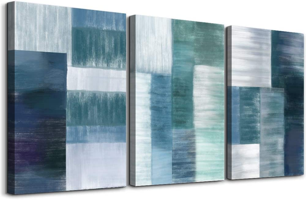 Blue abstract color block Wall Art for Bedroom Artwork office Bathroom Wall Decor wall decorations for Living Room kitchen 3 Panels Canvas Prints abstract Oil painting Modern Home Adornment pictures