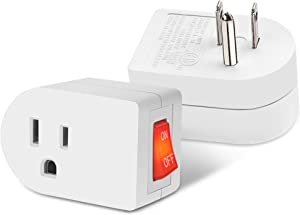 ETL Listed Grounded Outlet Adapter with ON OFF Switch and Red Indicator, JACKYLED 3 Prong Single Port Power Adapter Outlet, Electrical Fireproof Power Switch Plug Extender for Home and Office, 2 Pack