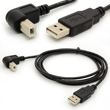 1.5M Cables de impresora USB 2.0 A macho a B justo Plug ángulo de avance 480 Mbps de alta velocidad por cable adaptador de cable de extensión del ...