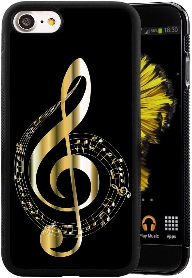 """Golden Music Note Phone Case Compatible with Apple iPhone SE2 (SE 2020)/iPhone 7/iPhone 8 [4.7""""]"""