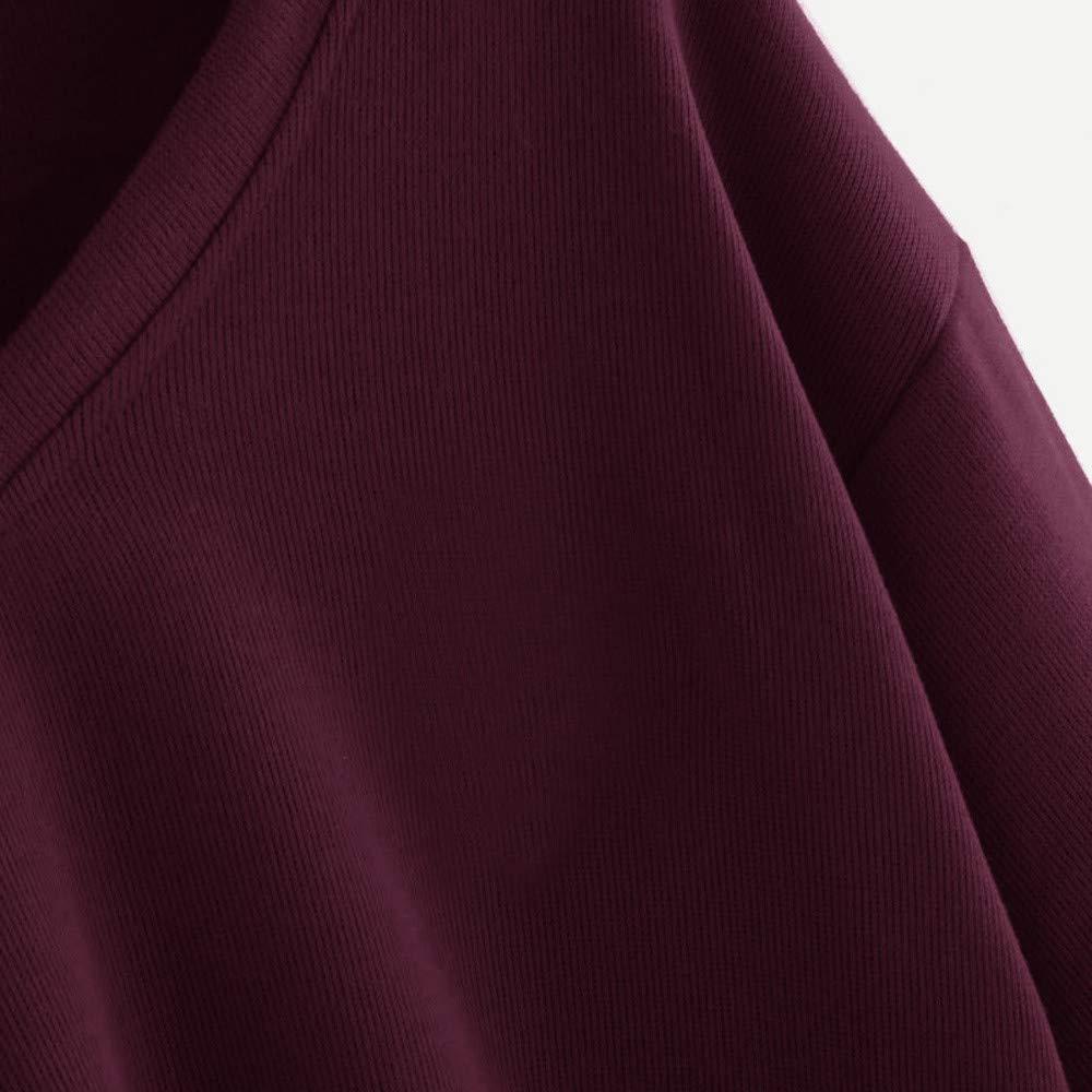 Ragazze Magliette Tumblr Top Donna a Manica Lunga Pullover Maglioni Camicia con V-Collo Casual Camicetta Felpe Tumblr Ragazza Elegante feiXIANG Felpe Donna in Tinta Unita Felpa con Cappuccio
