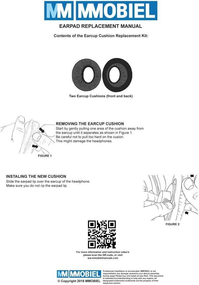 MMOBIEL Coussinets d/'Oreille compatibles avec ATH M50 M50X M50XBT M40X M30X HyperX SHURE Turtle Beach AKG ATH de Philips JBL Cuir PU Noir
