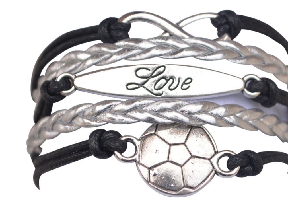 Love Infinity Collection Soccer Gifts Soccer Jewelry Adjustable Soccer Charm Bracelet- Perfect Soccer Gifts Soccer Bracelet