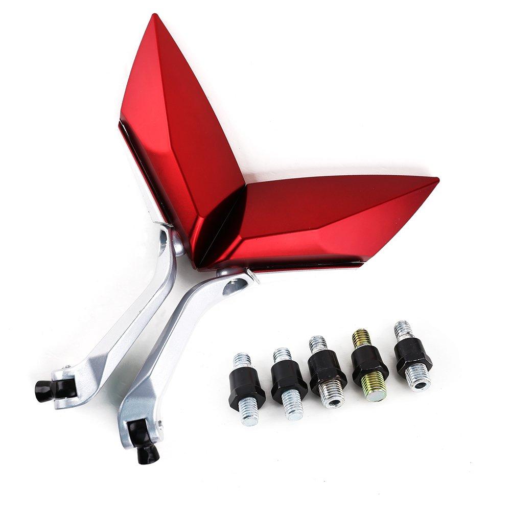 Pair Retroviseurs miroir pour Moto Scooter bande roulement vis 8mm 10mm couleur rouge Katezone