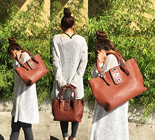 Fraless Design Hobo Flip Collection in Dark Bag Closure Handbag Bag Brown lock Flap rSBqHwr8
