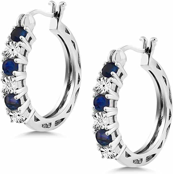 sve4923 925 Sterling Silver Designer Handmade Earring Jewelry Length 1.5 Faceted Blue Sapphire Round Gemstone Floral Earring For Gift