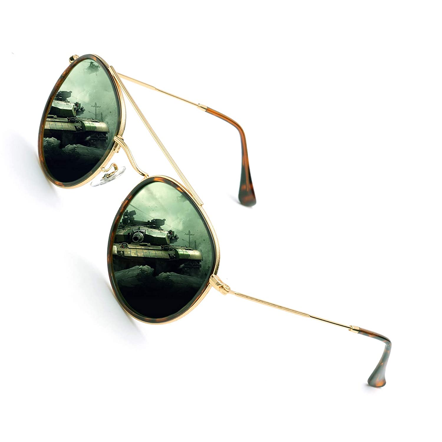 475b13e320d Amazon.com  ZUVGEES Round Polarized Sunglasses Metal Frame Flat Circle lens  Glasses Men Women S3647 (Gold   G15 Glass Lens)  Clothing