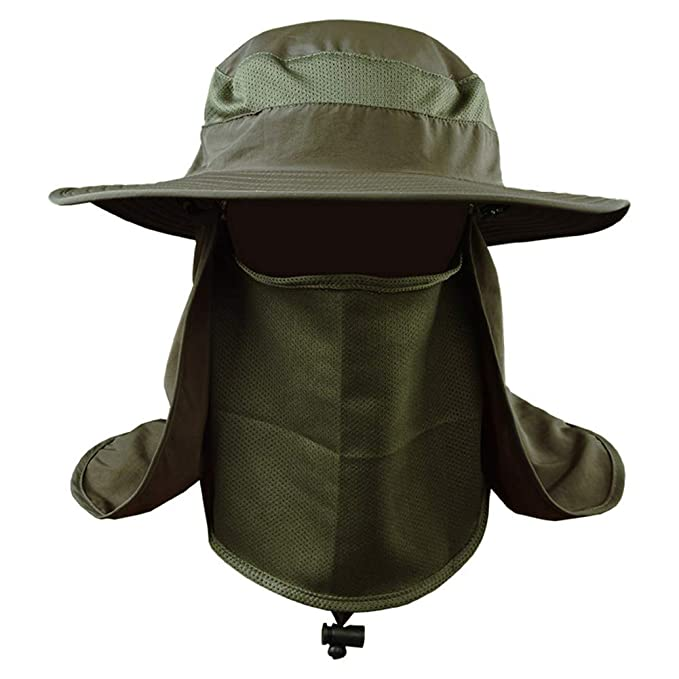 ebde96af Roffatide Detachable Sun Hat with Neck Flap Outdoor Fishing Mesh Bonnine Bucket  Cap Army Green