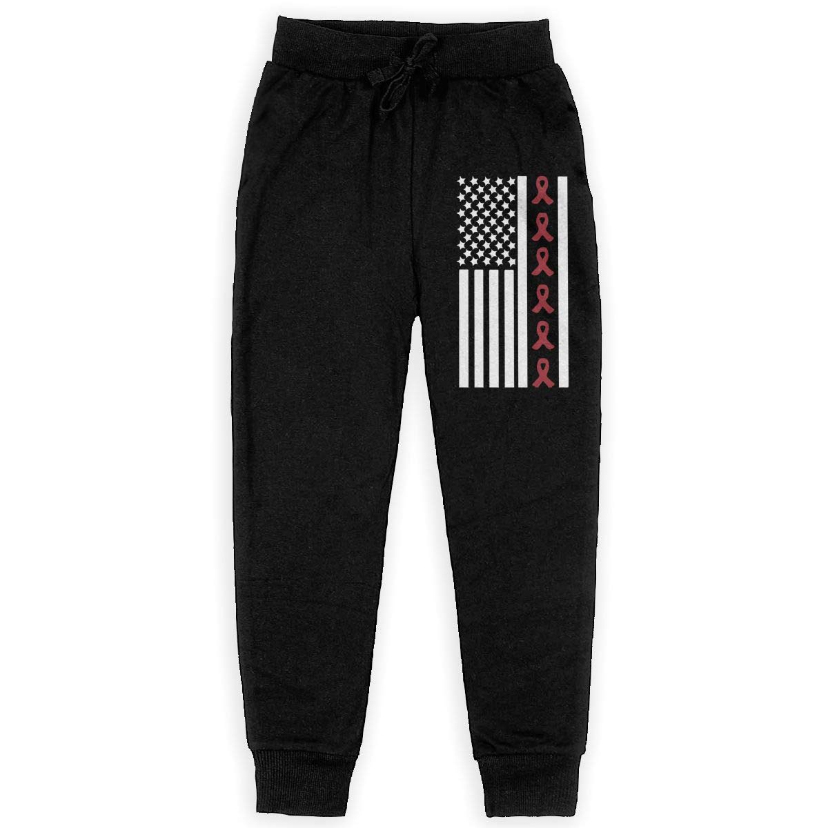WYZVK22 Ribbon Flag Multiple Myeloma Awareness Soft//Cozy Sweatpants Boys Warm Fleece Active Pants for Teenager Girls
