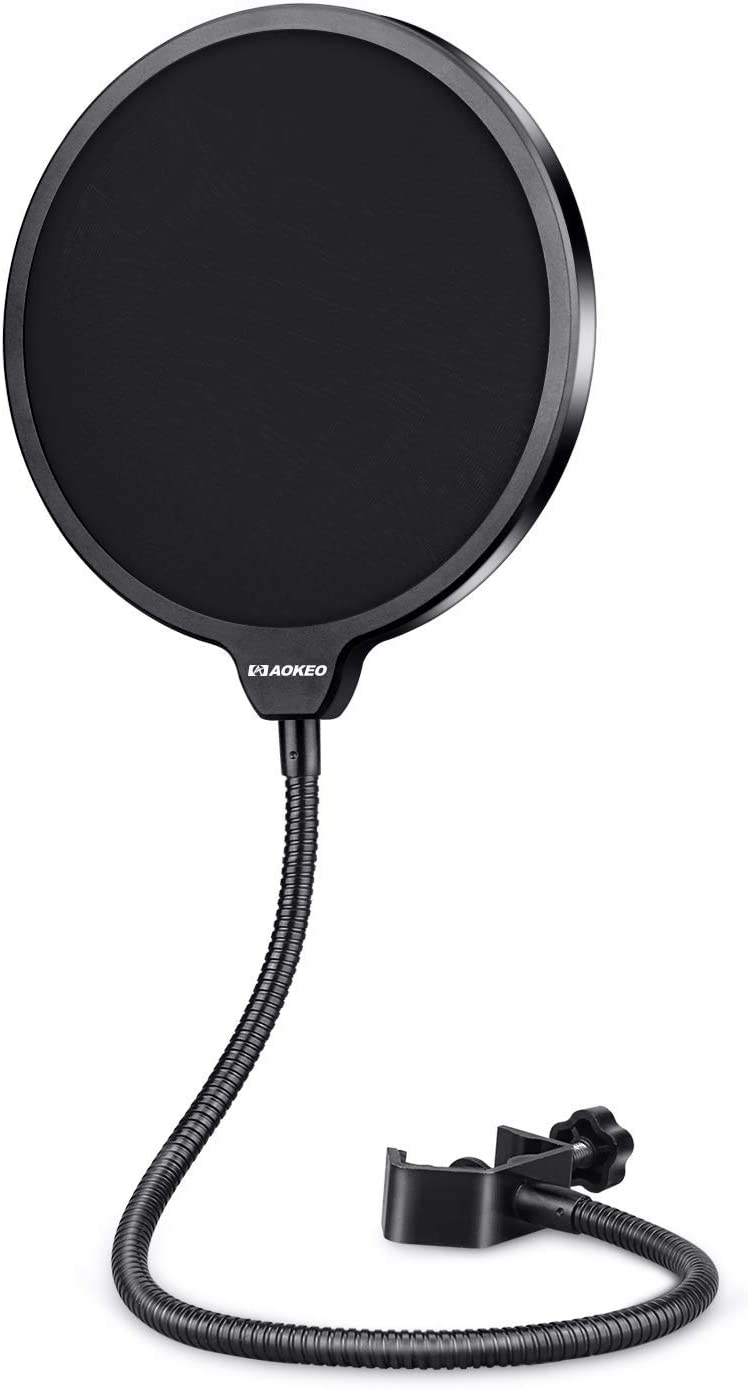Aokeo Professional Microphone Pop Filter Mask Shield For Blue Yeti and Any Other Microphone