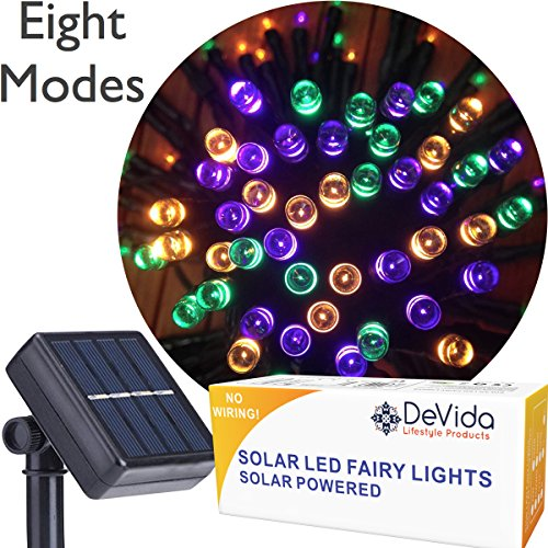 DeVida Halloween Decorations Lights, 100 Mini Solar Powered LED Strands, 8 Lighting Modes, No Outlet Needed, Outdoor Waterproof Decor Lighting for Party, Patio, Garden, Tree in Orange Purple Green