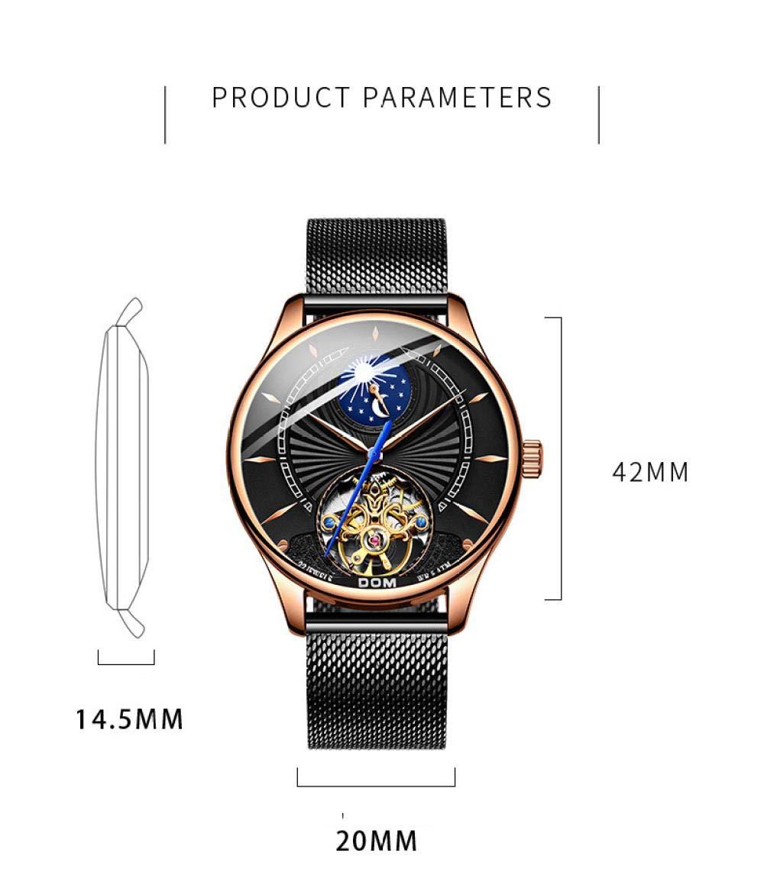 Herrklockor, ihålig mekanisk klocka mode affärer fritid automatisk mekanisk klocka b