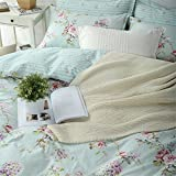 Abreeze 4-Piece Light Blue Countryside Duvet Cover Sets Cotton Bedding Set for Girls Full Size