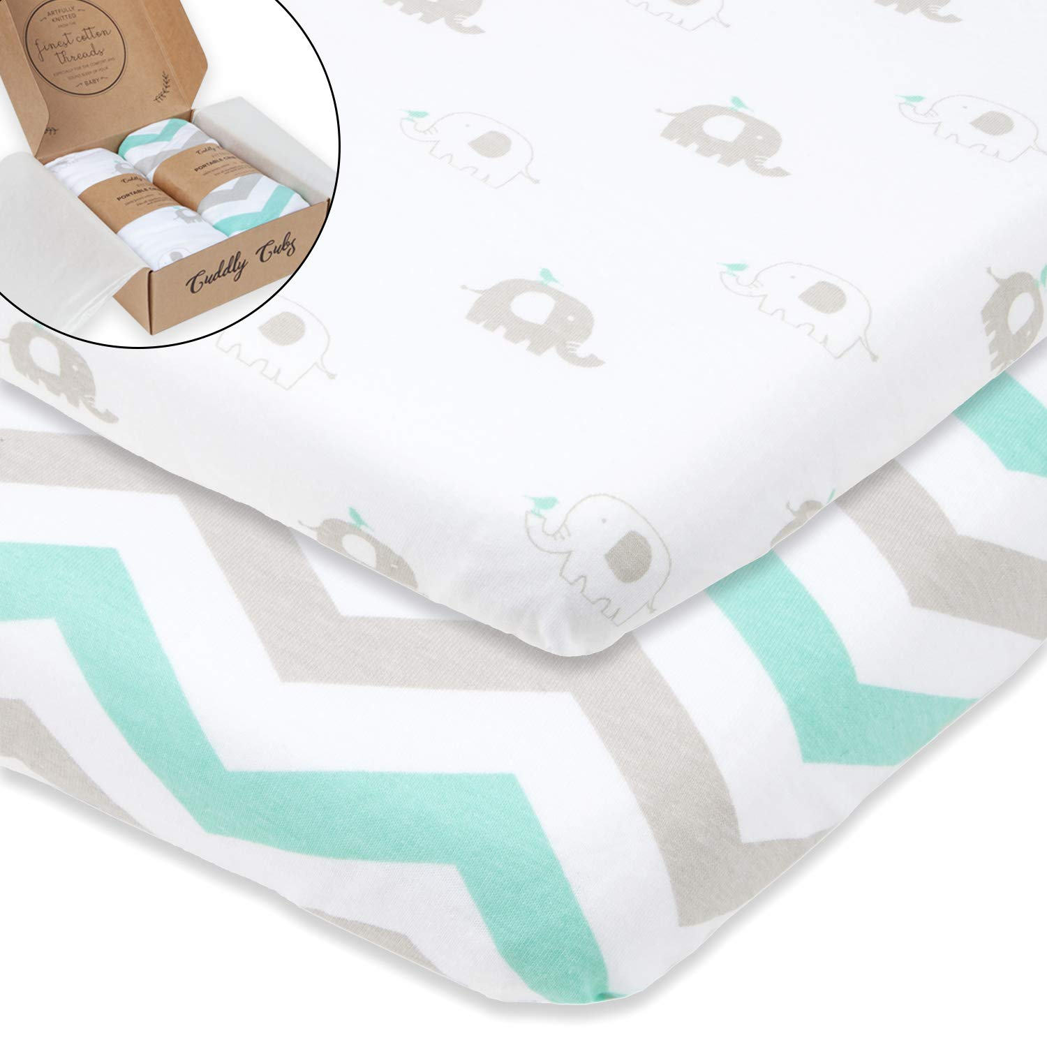 Bassinet Sheets Set 2 Pack for Boy & Girl by Cuddly Cubs | Soft & Breathable 100% Jersey Cotton | Fitted Elastic Design | Mint & Grey Chevron & Elephants | Fits Oval, Halo, Chicco Lullago, Arms Reach