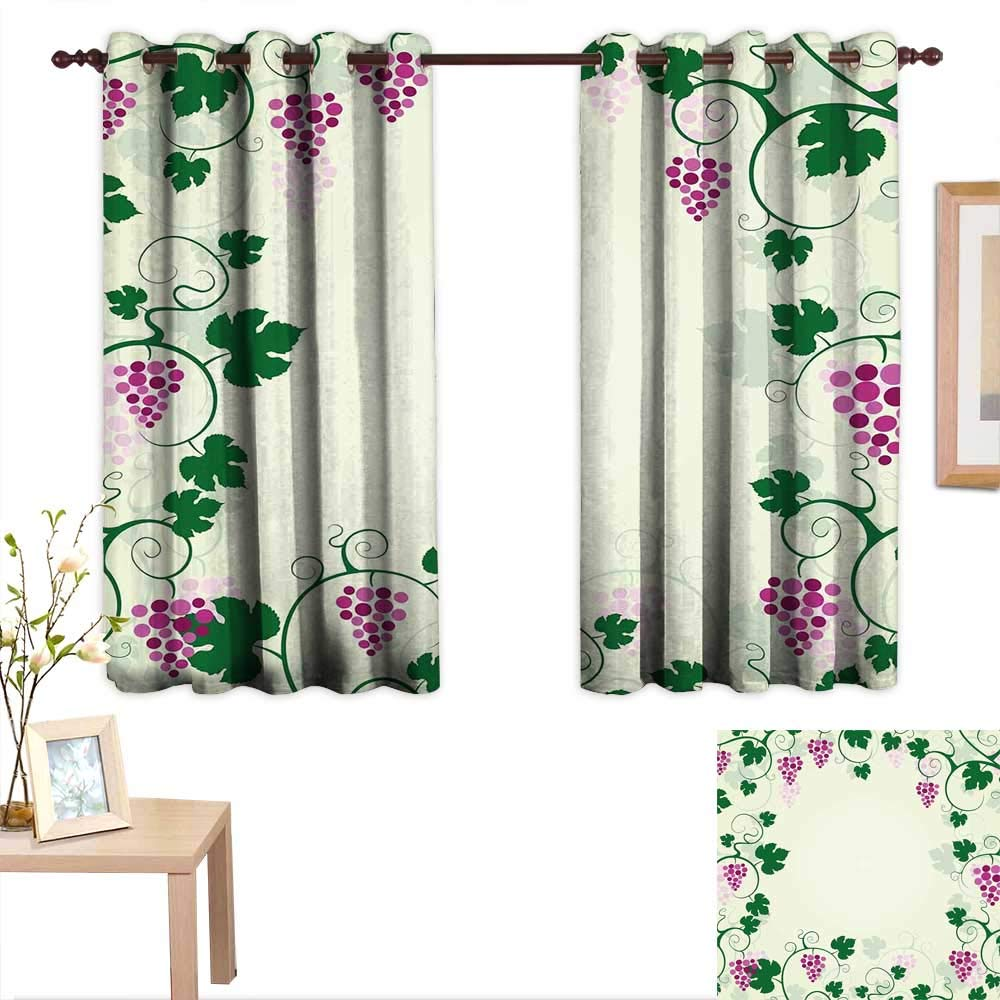 "AndyTours Kitchen Curtains Nature,Grape Vines Framework Fruit Garden Curvy Branches Leaves Vintage Illustration,Pink Purple Green,Rod Pocket Drapes Thermal Insulated Panels Home décor 42""x72"""