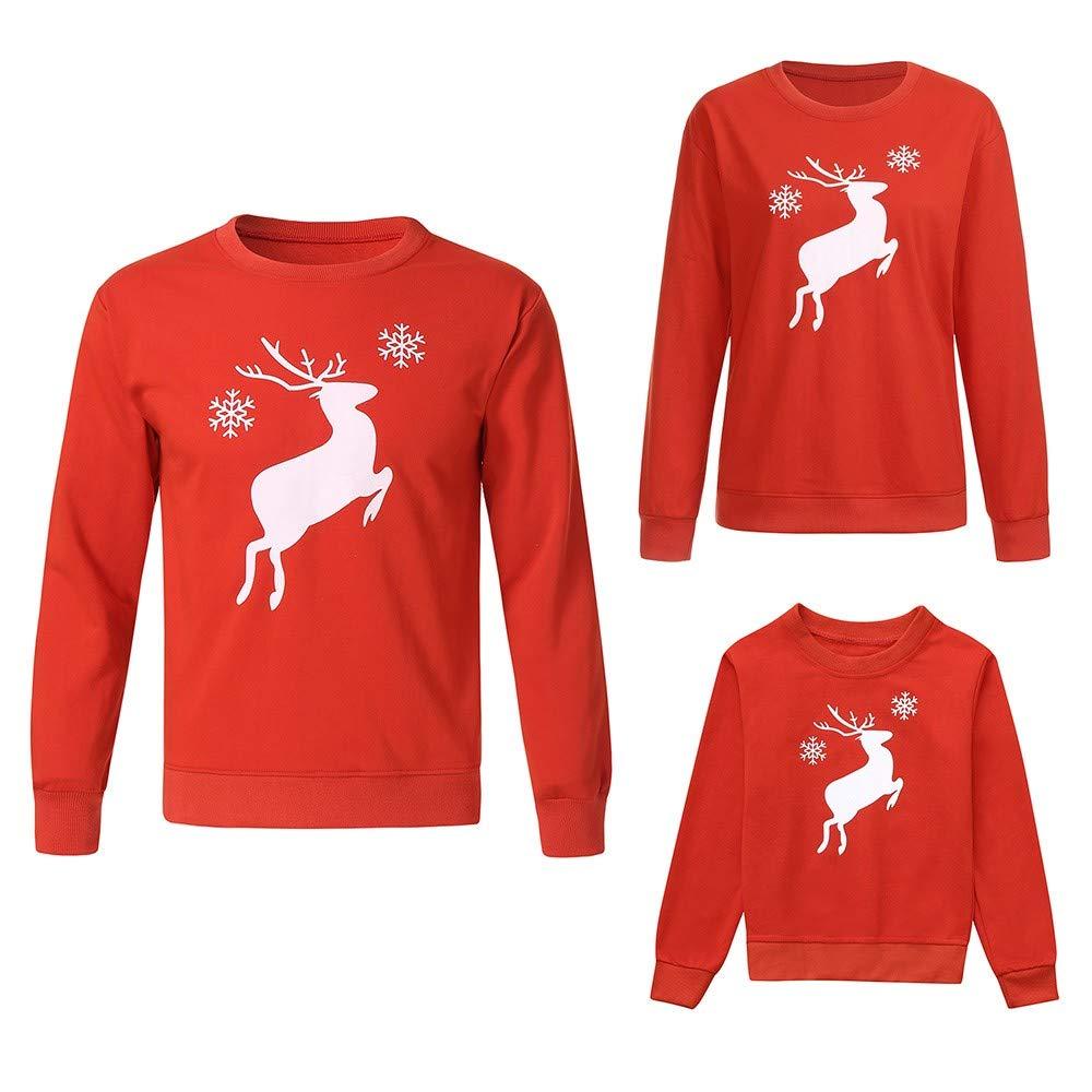 Gufenban Christmas Mommy &Me Kid Deer Cartoon Print Tops Sweatshirt Family Clothes(Women-Red,S)