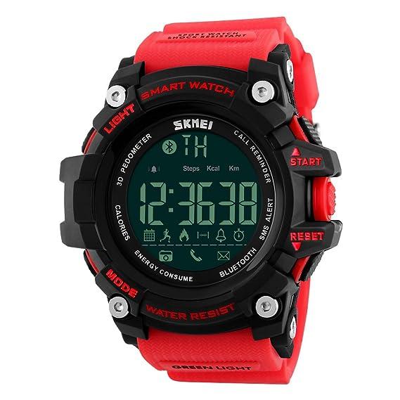 para Hombre Smart Reloj Digital 5 ATM Resistente al Agua Deporte Reloj de Pulsera Llamada SMS notificación LED podómetro SmartWatch