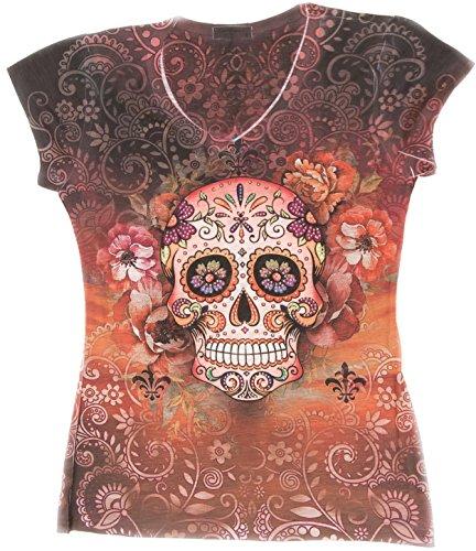 Sweet Gisele Woman Sugar Skull V-Neck T-Shirt Tee | Beautiful Print Decorated with Sparkling Bling Rhinestones