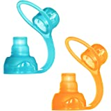 ChooMee SoftSip Food Pouch Top | 100% Silicone | Prevent spills and Cushion mouth | 2CT - Orange Aqua