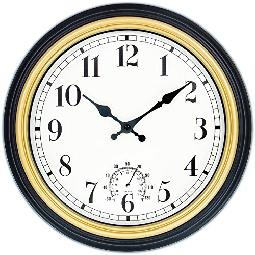 Precision Quartz Movement - 45Min 12-Inch Indoor/Outdoor Retro Wall Clock with Thermometer, Silent Non Ticking Round Wall Clock Home Decor with Arabic numerals