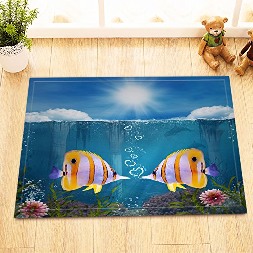 LB Underwater Fish Bath Mat Marine Life Bathroom Rugs Flannel Customized Outdoor Indoor Front Door Mat Non-slip High Absorbent 16x24 Inch
