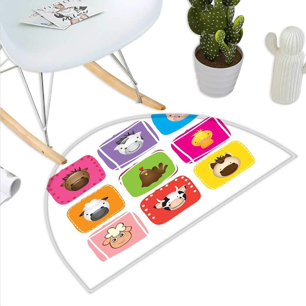 color12 H 39.3  xD 59  Baby Semicircle Doormat Friendly Penguin Character with Christmas Attire Holding an Ornate Box North Pole Halfmoon doormats H 27.5  xD 41.3  Multicolor
