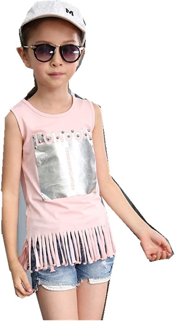 MV Childrens Wear Solid Color New Korean Summer Big Boy Sleeveless T-Shirt Girl