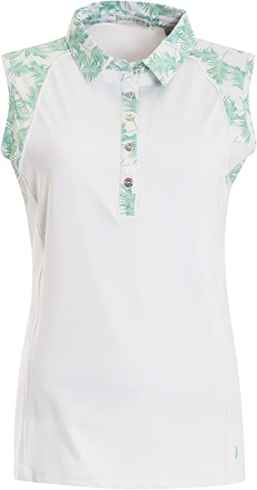 9c6e77dd85fb9 Green Lamb Piper Ladies S Less Print Polo Shirt White Green-16 ...