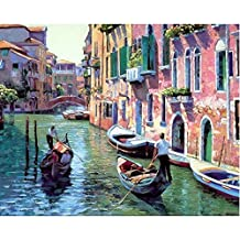Tonzom Wooden Framed Paint By Number Kits Diy Canvas Oil Painting for Kids, Students, Adults Beginner – Italy Venice 16x20 inch with Brushes and Acrylic Pigment
