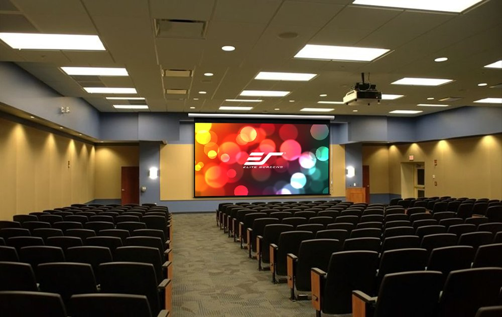 Elite Screens Manual Grande Series, 180-inch Diagonal 4:3, Pull Down Projection Manual Projector Screen with Auto Lock, M180XWV-G