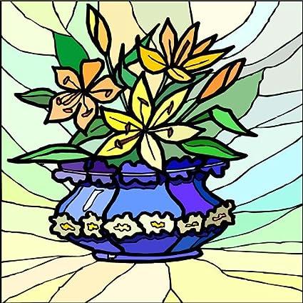 Amazon Blue Vase With Yellow Orange Lilies Etched Vinyl