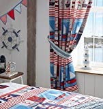 Kids Boats Readymade Pencil Pleat Curtains 66x72 Anchors Stripes