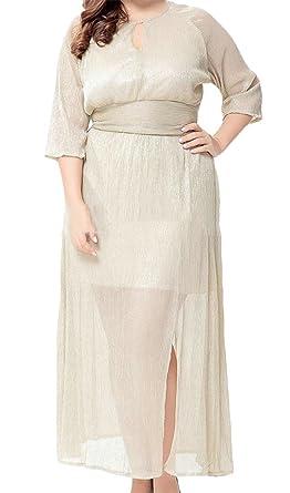 Wofupowga Women Keyhole Plus Size Half Sleeve Mid-Long Split Modest ...