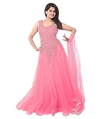 d8127b7f3 Lady Loop Women's Net Gown Dress Material (Pink Net Gown _Sky Blue_):  Amazon.in: Clothing & Accessories