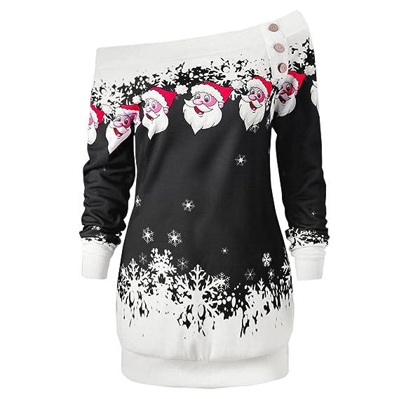 Covermason Mujer Navidad Suéter, Hombro Blusa Santa Copo de Nieve Impresión Camisa (Negro,