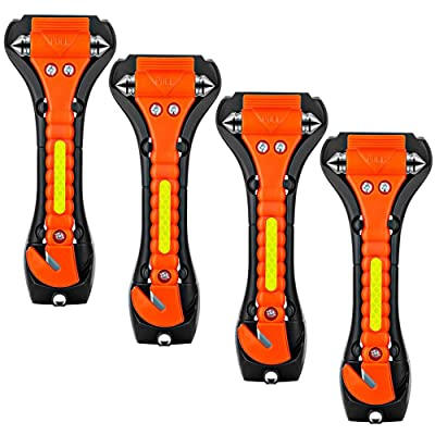 ZHSX Safety Hammer, 4 Pack Car Emergency Escape Tool Car Window Breaker and Seat Belt Cutter with Light Reflective Tape for Family Car Life Saving Survival Kit: Automotive